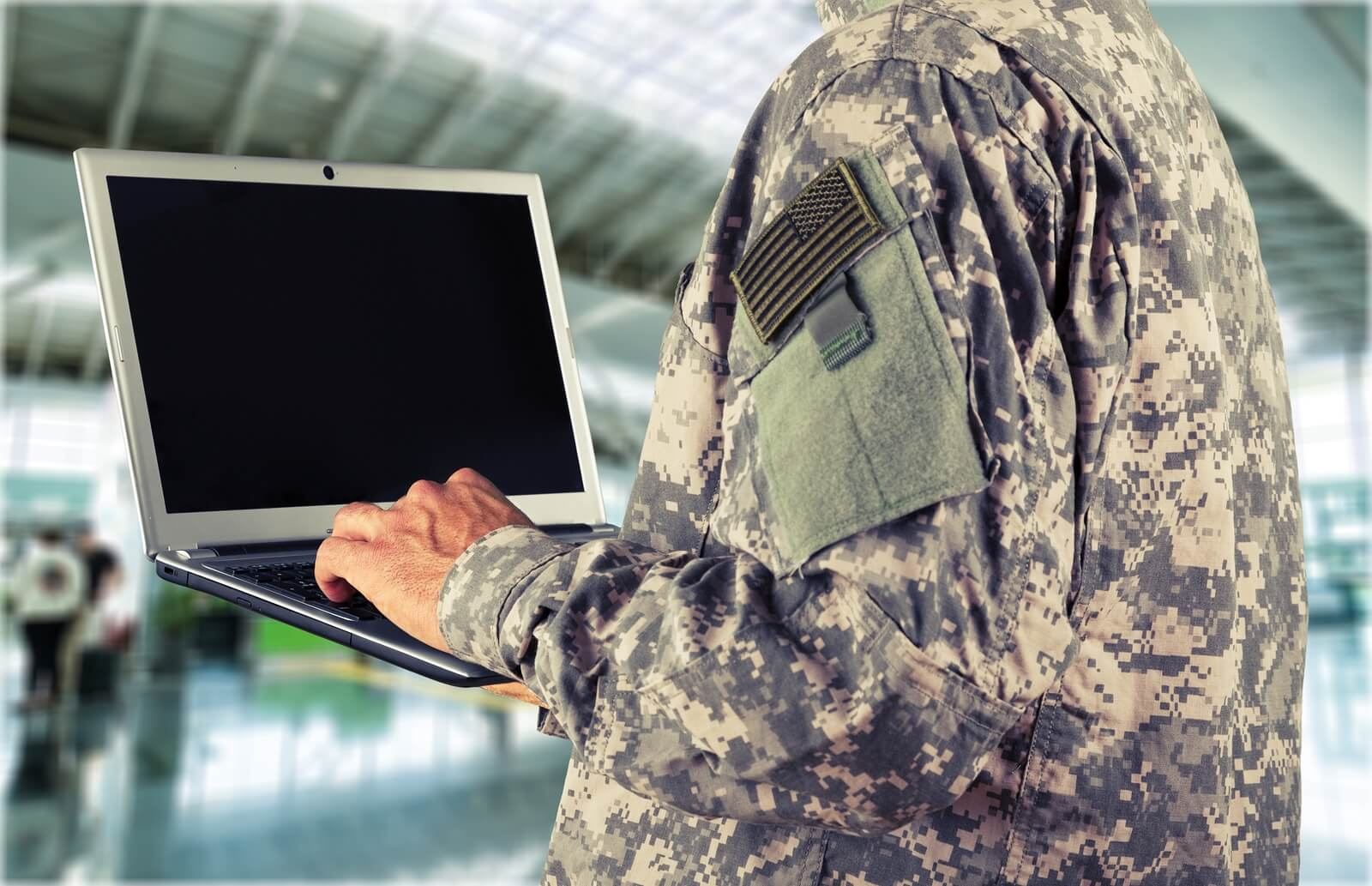 soldier using encrypted computer or VDI